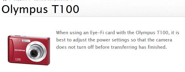 Olympus T100_ Eye-Fi Support