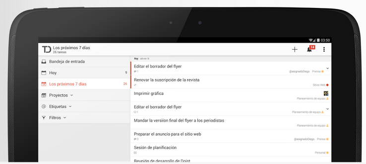 Todoist para dispositivos Android