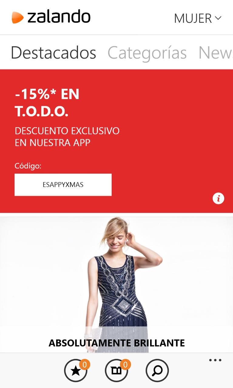 Zalando Shoping en un Nokia Lumia 1020