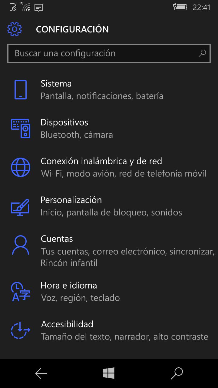 Microsoft Lumia 550 con windows 10 , configuración