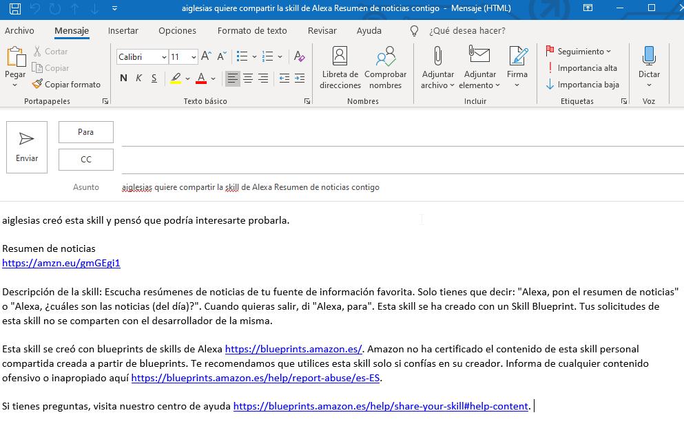 Email para compartir Skill